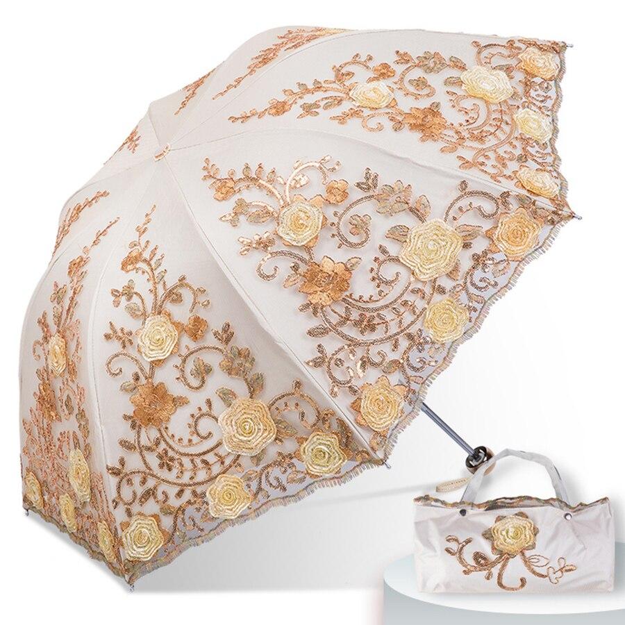 Dentelle pluie soleil parapluie mariage femmes Protection UV magique Portable clair Parasol pliant Guarda Sol luxe dames parapluie 40S100 - 3