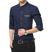 New Fashion Casual Men Shirt Long Sleeve Mandarin Collar Slim Fit Shirt