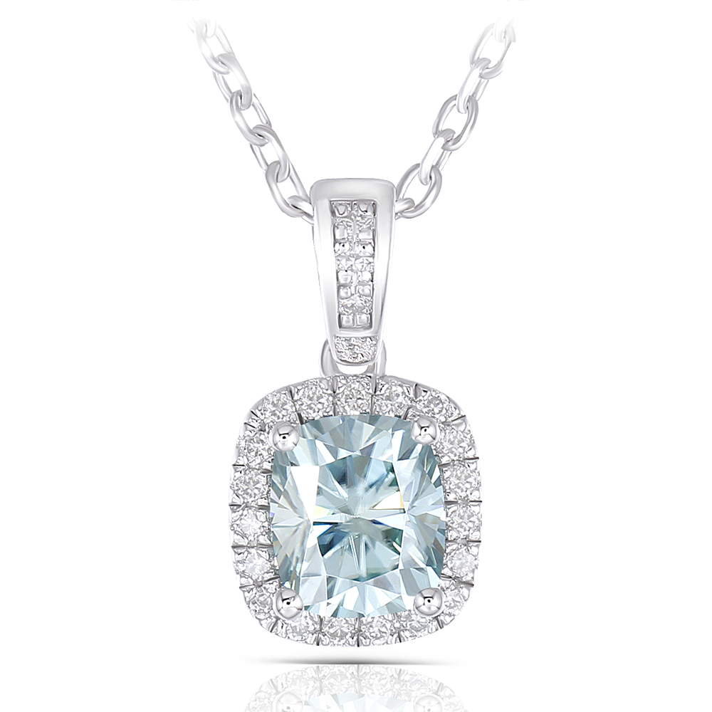 6X7mm Cushion Cut Slight Blue Moissanite Halo Pendant Necklace with Accents(1)