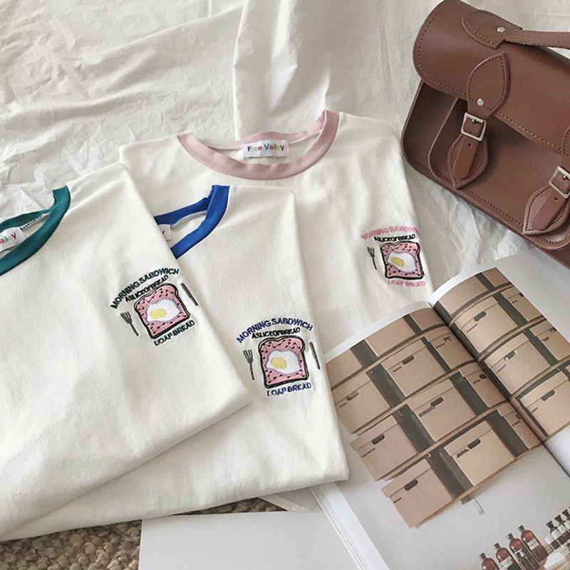 Women T Shirt 2018 Summer Tshirt Femme New Fashion Bread and Morning Letters Print Round Neck T shirt Candy Color Block in T Shirts from Women 39 s Clothing