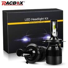Racbox 72 Вт светодиодные фары автомобиля супер яркий H1 H3 H7 H4 H8/H9/H11 H13 9005 HB3 9006 HB4 9004 9007 9012 880 881 5202 Противотуманные Лампа
