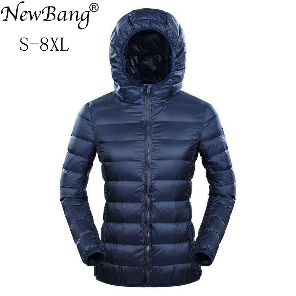 NewBang Brand 7XL 8XL   Down   Jacket Women Hooded Ultra Light   Down   Jacket Women Plus Feather Winter Thin Warm Windbreaker   Coats