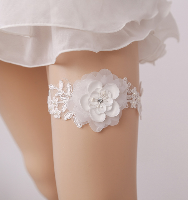 Whole Women Wedding Garter For Bride Hand Made White Color Flower Leg Thigh