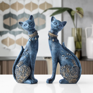 Image 1 - Figurine Cat Decorative Resin statue for home decorations European Creative wedding gift animal Figurine home decor sculpture