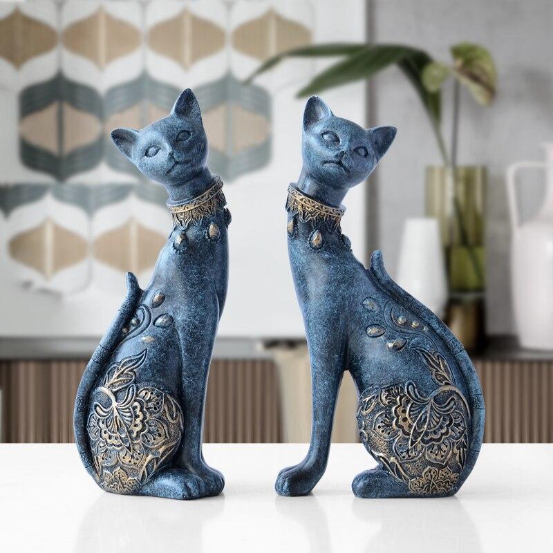 Figurka kot żywica dekoracyjna statua do dekoracji domu europejski kreatywny prezent ślubny figurka zwierzątko home decor rzeźba