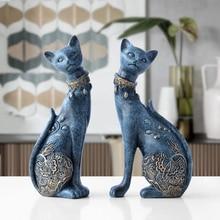 Statue en résine décorative pour chat, décoration européenne, cadeau de mariage, sculpture danimal, décoration pour la maison