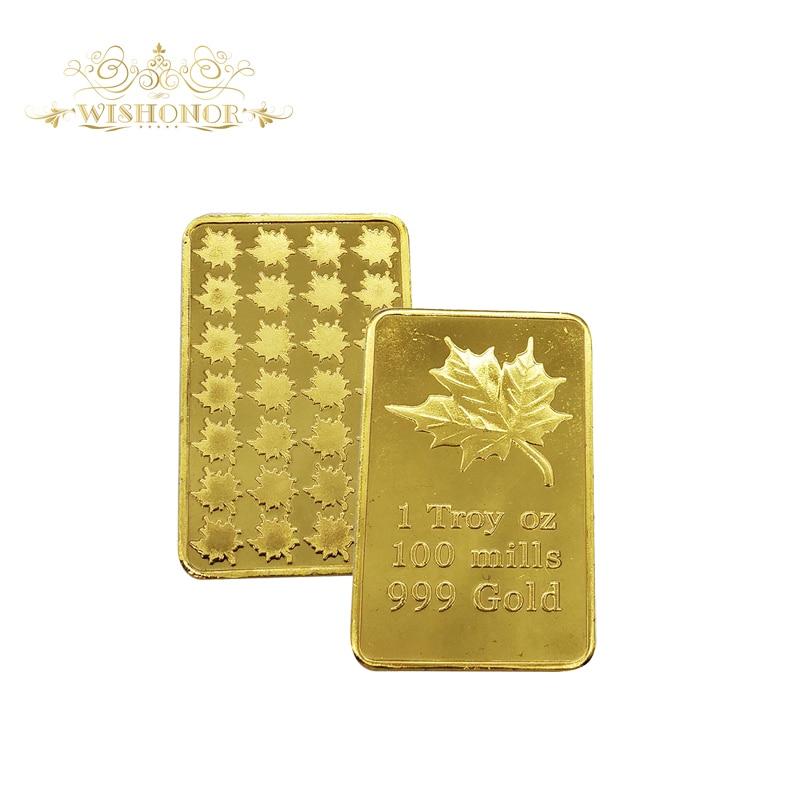 1 Troy OZ 100 Mills aranyrúd Bar finom aranyozott Maple Leaf Ingot arany bár otthoni dekoráció
