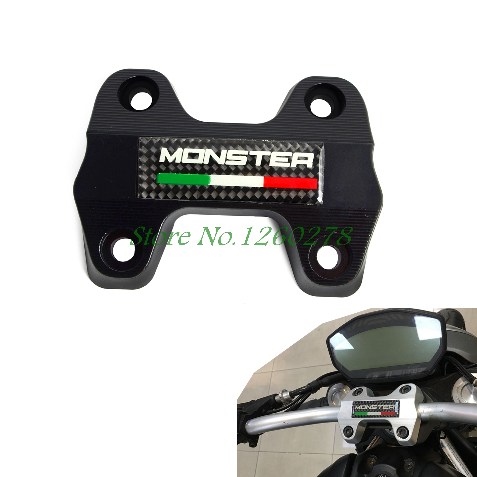 ФОТО Motorcycle Handlebar Clamp Bracket Upper For Ducati  Monster 821 DARK  2014 2015 2016 Motocross Enduro Supermoto Dirt Bike