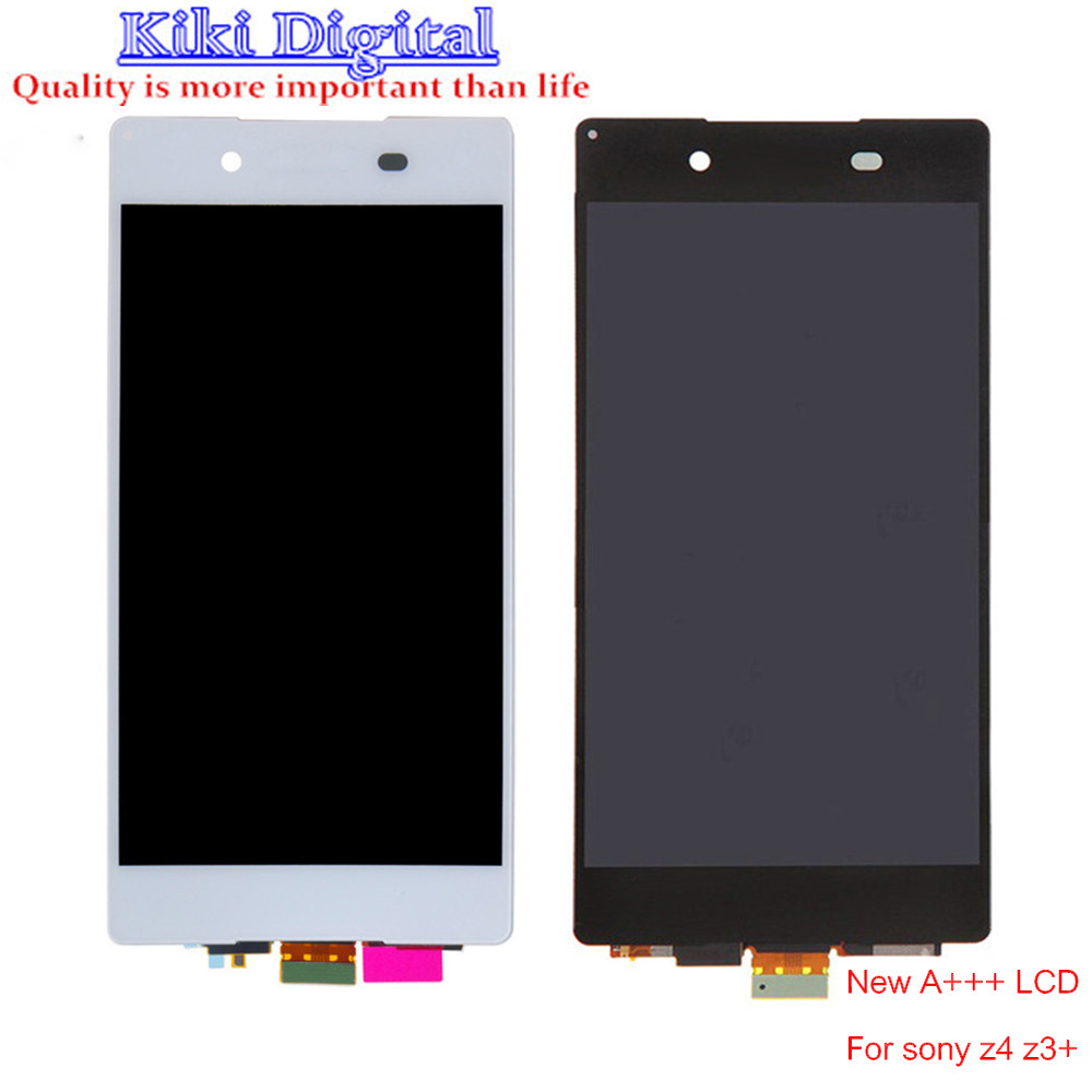 WOJOQ Original Tested For Sony Xperia Z4 Z3+ LCD Screen Digitizer Assembly with adhesiver Black White Free shipping