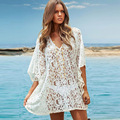 new arrive 2017 fashion Beach Dresses V neck batwing sleeve solid loose lace hollow out sun protection women summer dress 4442