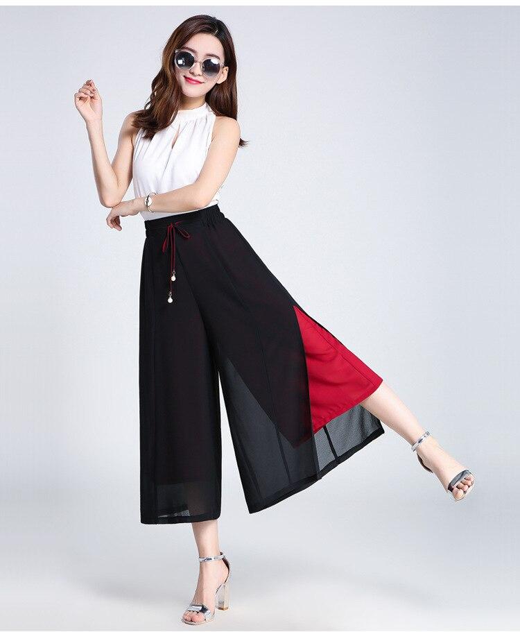 ᐂMás tamaño negro pierna suelta gasa Pantalones 2018 Primavera ...