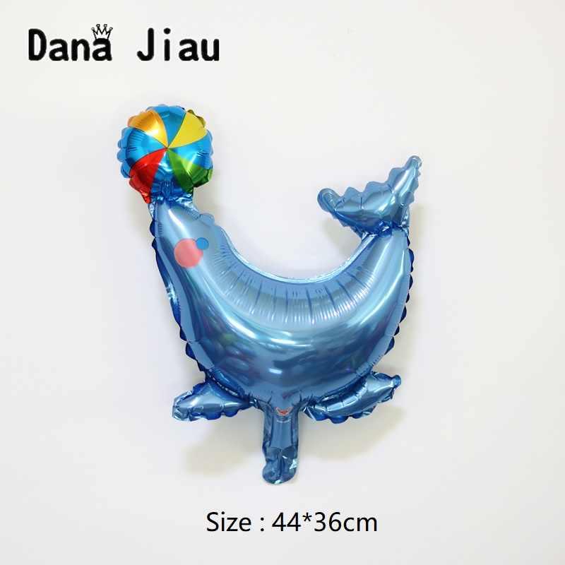DanaJiau MINI ocean animal theme บอลลูน earth day ปกป้อง blue sea shark dolphin กุ้งปลาฤดูร้อนเด็กวันเกิดบอลลูน
