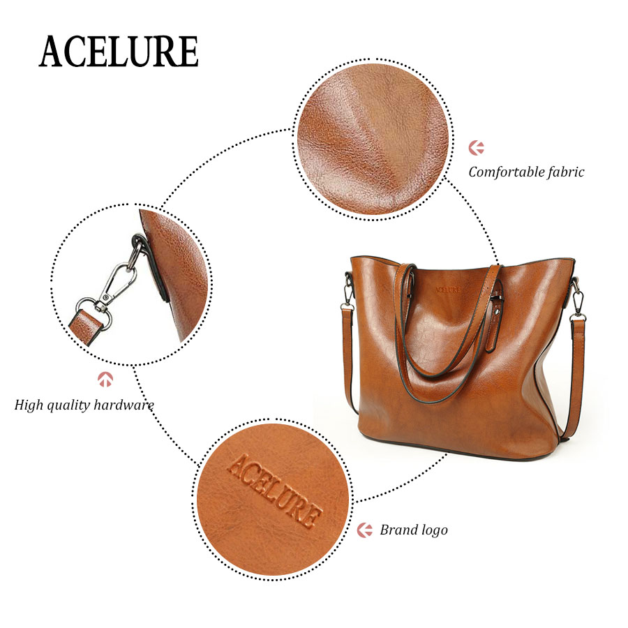 ACELURE Women Shoulder Bag Fashion Women Handbags Oil Wax Leather Large Capacity Tote Bag Casual Pu Leather women Messenger bag  2