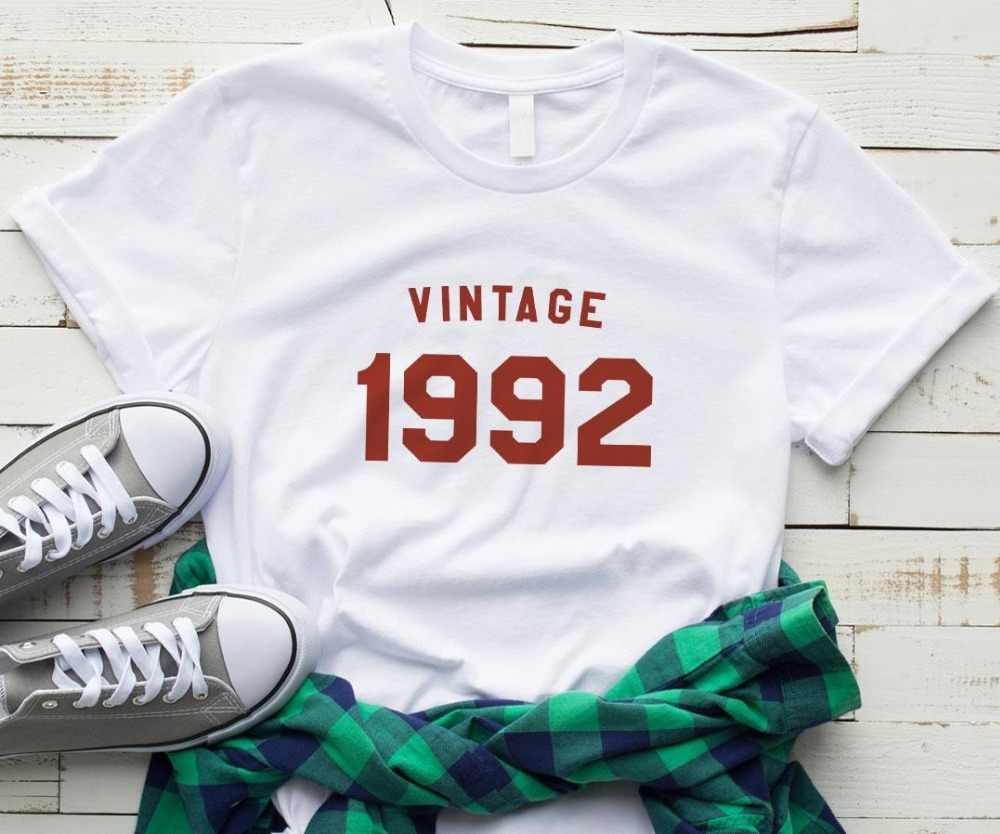vintage 1992 birthday Letters Women tshirt Cotton Casual Funny t shirt For Lady Yong Girl Top Tee Drop Ship S-199
