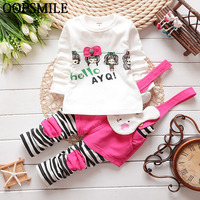 2017 Spring Style Kids Clothing Set T Shirt And Rabbit Overalls Children Cute Girl Clothes