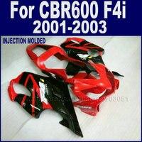 Мотоцикл road race литья под давлением обтекатели комплект для Honda CBR 600 F4i 2001 2002 2003 CBR 600 f4i 01 02 03 красный черный обтекателя
