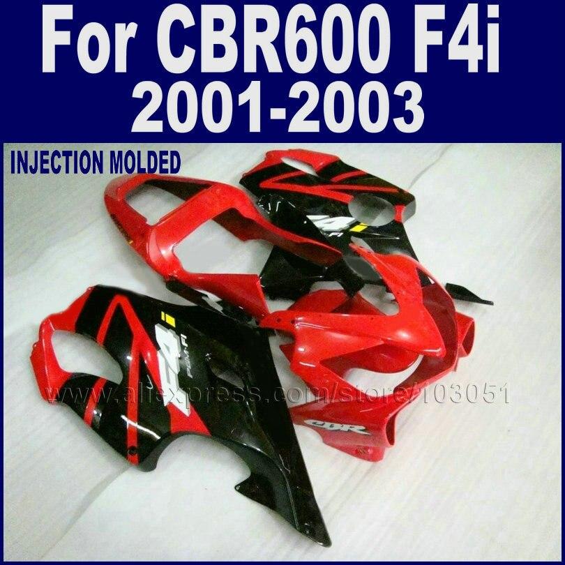 Motorcycle Road race Injection molding fairings kit for Honda CBR 600 F4i 2001 2002 2003 cbr 600 f4i 01 02 03 red black fairing