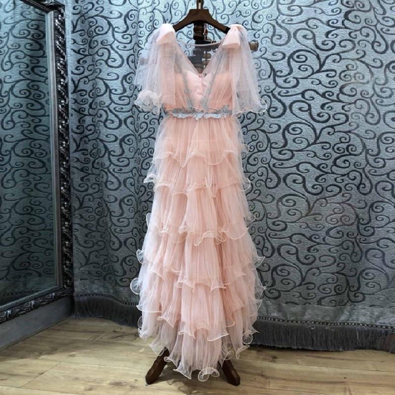 Rose Femmes Été Arc Nouvelle Mode Robe cou Maxi Longue De 2019 Épaule Douce Printemps Mariage Soirée V 4c35LqARj