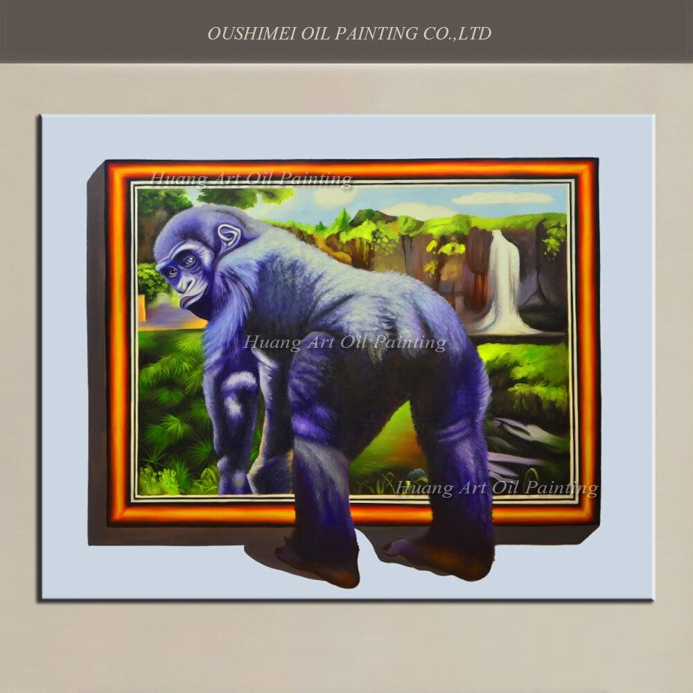 Ручная роспись новый реалистичный 3D картина маслом Животные живопись на холсте современного орангутанги пейзаж стены Книги по искусству к
