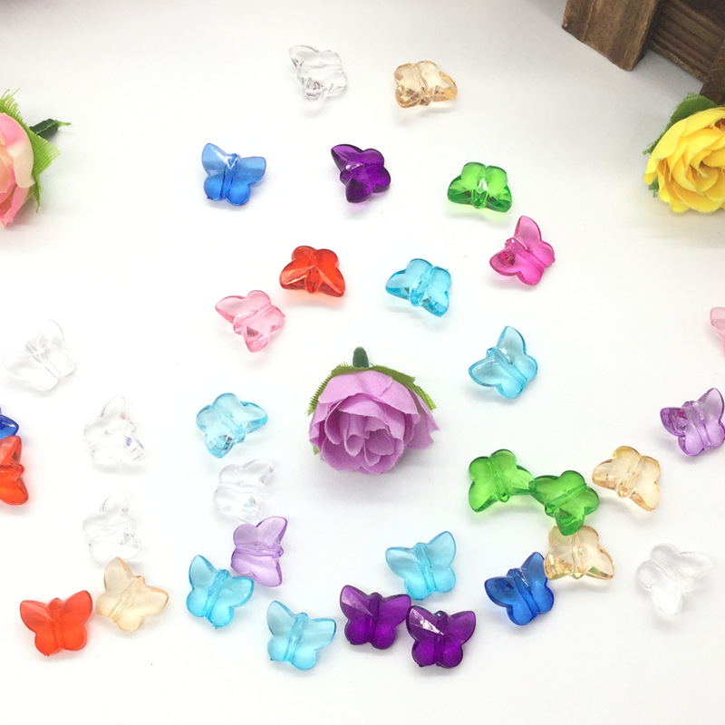 92 PCS / 14mm mixed small butterfly Diy accessories yakeli beads, handmade beads, plastic loose beads wholesale ...