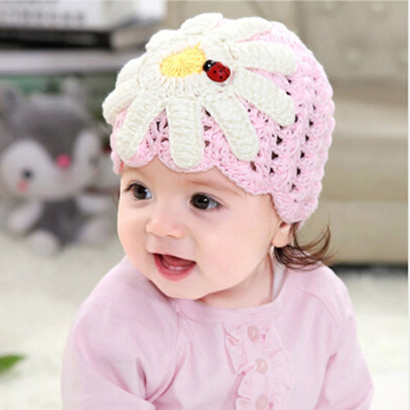 Baby Girl Knitted Hat Lovely National Cap With Big Pearls Flower