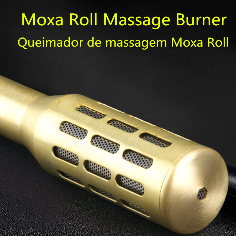 Big Copper Moxa Roller Roll Box Stick Moxibustion Device Massage Box Smokeless Acupuncture Artemisia Body moxibustion of traditional chinese medicine portable acupuncture box smoke free body care massage