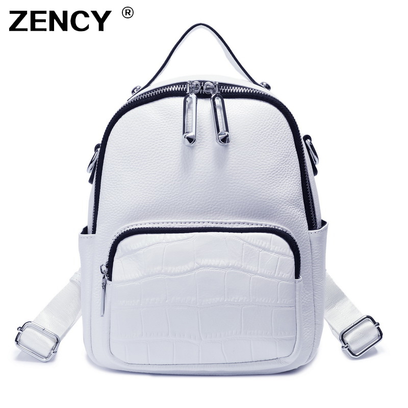 ZENCY 100% Real Genuine Cow Leather Black White Color Women Design Backpack Lady Girl Top Layer Cowhide Book Bag Style Knapsack