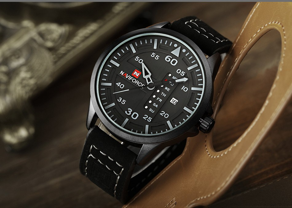 Naviforce CUR8106 Men Army Military Sports Watch Leather Strap