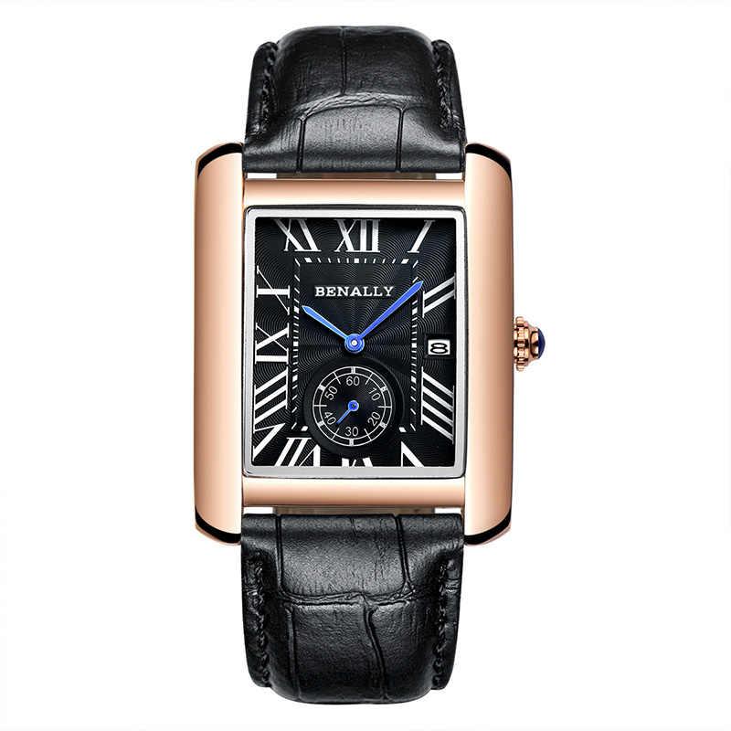 Marque de luxe carré hommes montres-bracelets conception Unique en or Rose calendrier chronomètre en cuir véritable Quartz montre d'affaires pour homme
