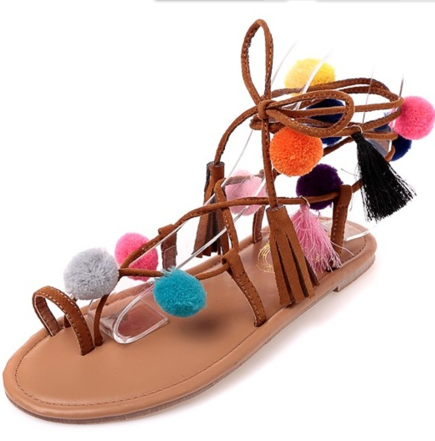 Bohemia Bondage gypsy pompon pom sandals women ring toe concise strappy Boho flat cross strap fur ball ethnic flip flops
