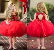 Red Tutu Tulle Sequins Flower Girls Dresses Length Keyhole Back Ball Gown Little Children Birthday Party Dresses rose gold sequins blush tulle ball gown flower girls dresses 2018 cap sleeve puffy little girls birthday party dress any size