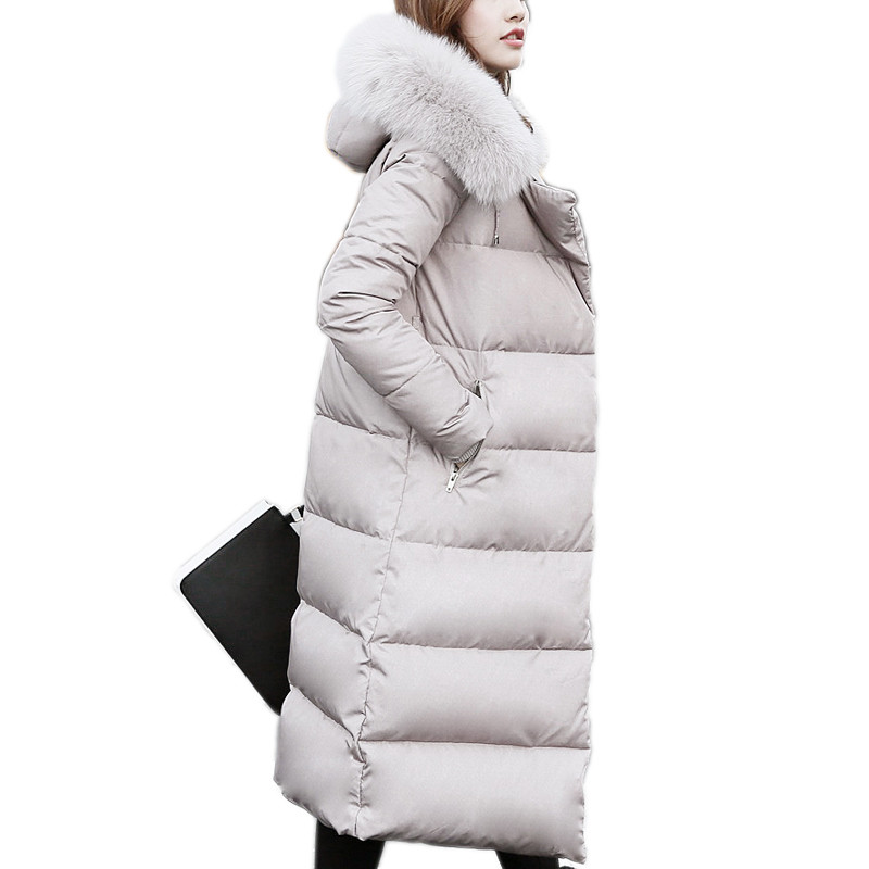 New Fox Fur Collar Down Jacket Women Hooded White Duck Down Parkas Winter Jacket Women Long Parka Jackets Manteau Femme C2807 аксессуар panasonic сетка для бритв wes9089y1361
