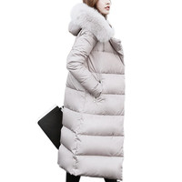 New Fox Fur Collar Down Coat Women Hooded White Duck Down Coats Winter Jacket Women Long