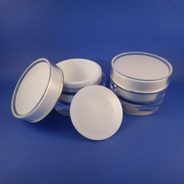 Made In Taiwan 4 OZ Acrylic Cosmetic Double Wall Cream Empty Jars Containers  Screw Cap PMMA