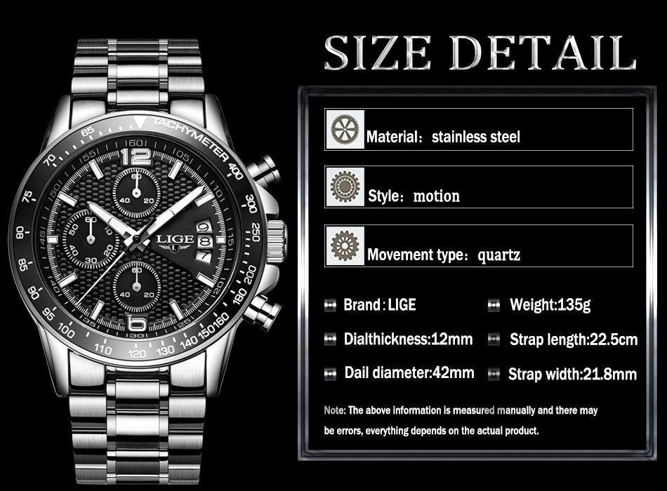 LIGE New Mens Watches Top Brand Luxury Stopwatch Sport waterproof Quartz Watch Man Fashion Business Clock relogio masculino+Box