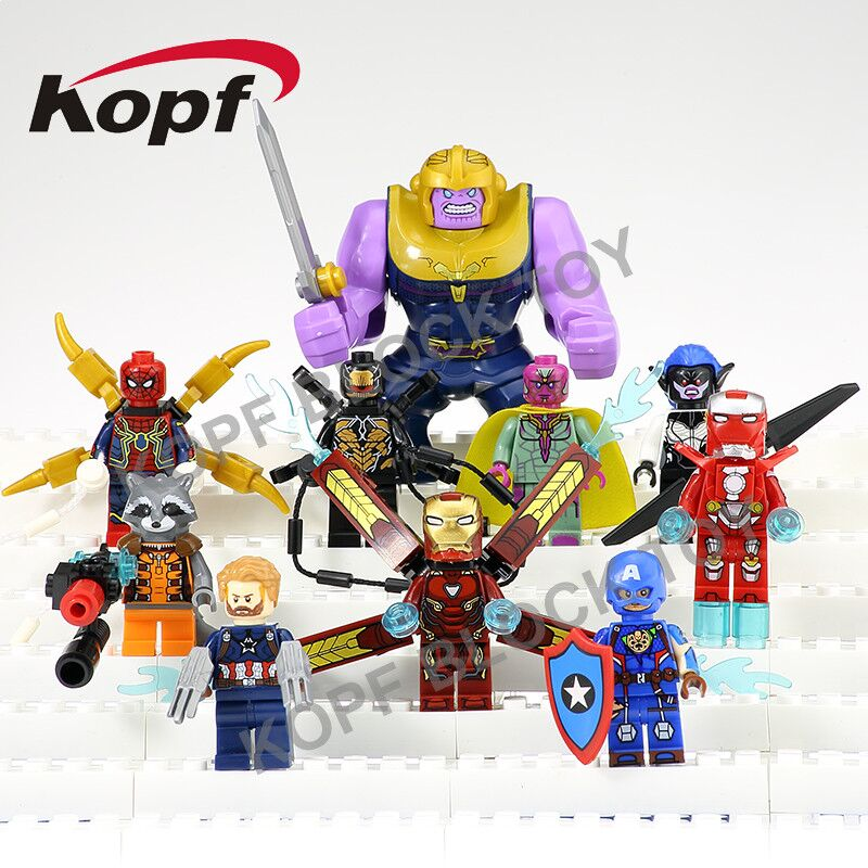 Super Heroes INFINITY WAR Thanos Captain America Vision Rocket Proxima Night Spiderman Building Blocks Children Gift Toys KF6033 овальный купить ковры ковер super vision 5412 bone овал 3на 5 метров