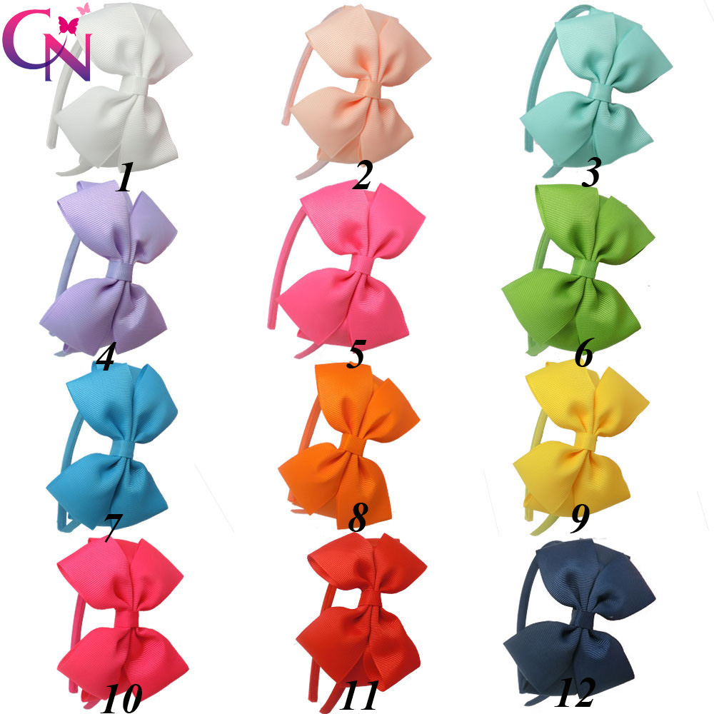 11 Pcs/lot Plain Ribbon Bow Hairband With Satin Covered For s