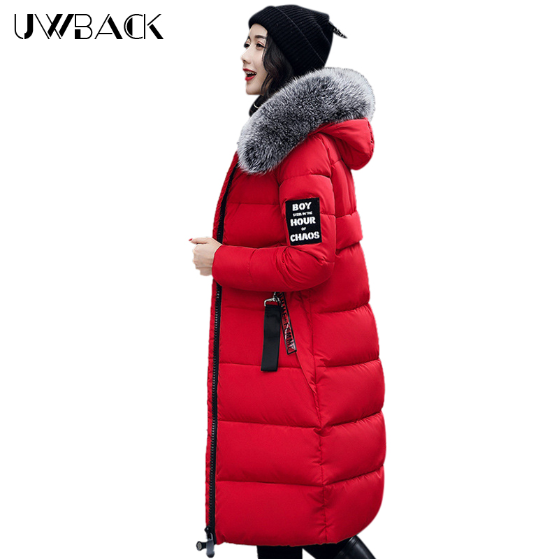Uwback Women Jacket Cotton Padded Coat Slim Female Winter Outwear Warm Thicken Mujer X-Long Overcoat Faux Fur Hood 3XL, EB253 uwback 2016 new brand winter jacket women plus size 4xl faux fur collar down coat women black thicken padded parkas mujer tb1181