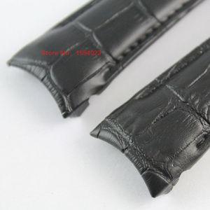 Image 4 - 23 мм (пряжка 20 мм) T035617A T035439, Высококачественная серебристая пряжка бабочка + коричневый черный ремешок из натуральной кожи с изогнутым концом
