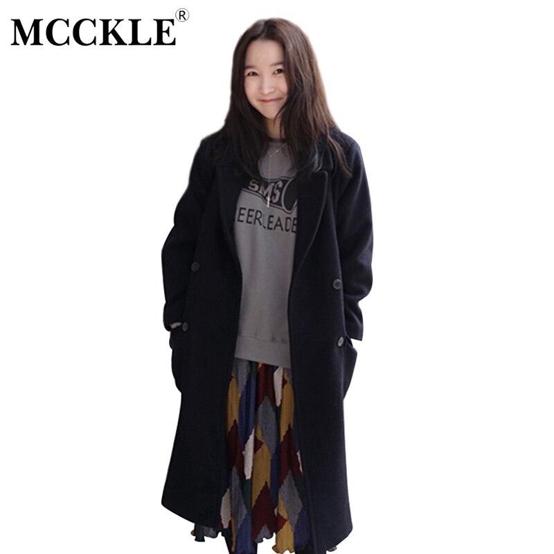 MCCKLE Women's Double-Breasted Jacket Coat 2017 Autumn Winter Warm Black Overcoat Elegant <font><b>Trend</b></font> Woolen Long Outwear