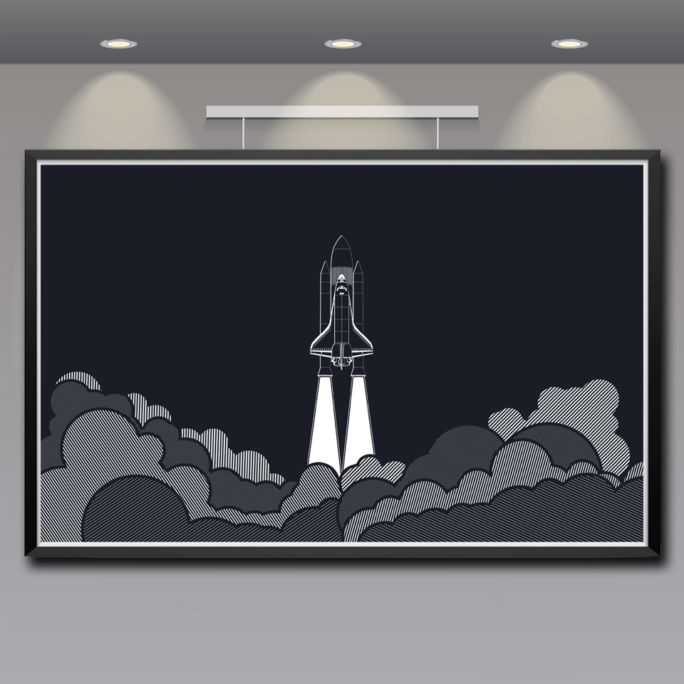 Artwork Space Shuttle Launch Pads Spaceship Rocket Art Silk Poster Home Decor Painting 12x19 22x35 Inches Unframed Free Shipping