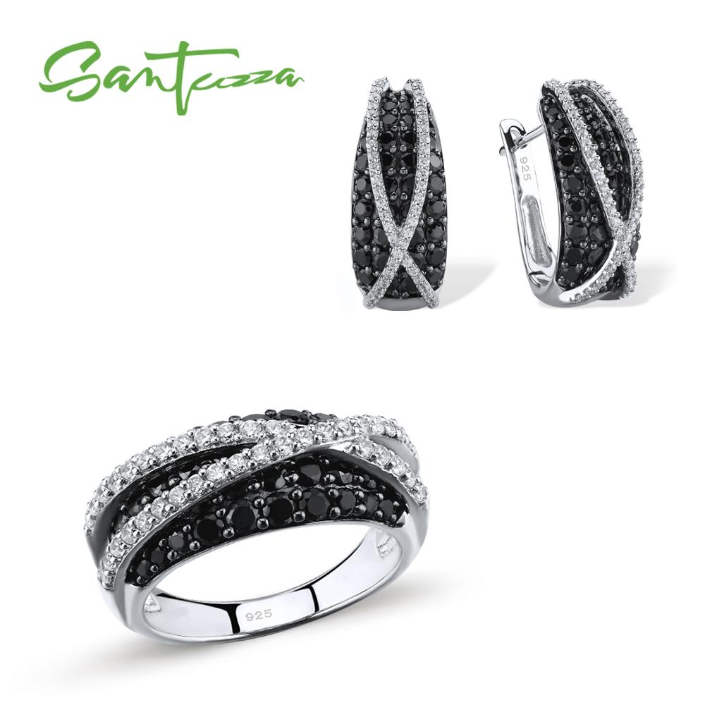SANTUZZA набор украшений для женщин натуральный черный-шпинели камни сверкающие роскошные кольца серьги набор 925 пробы серебряный комплект юве...
