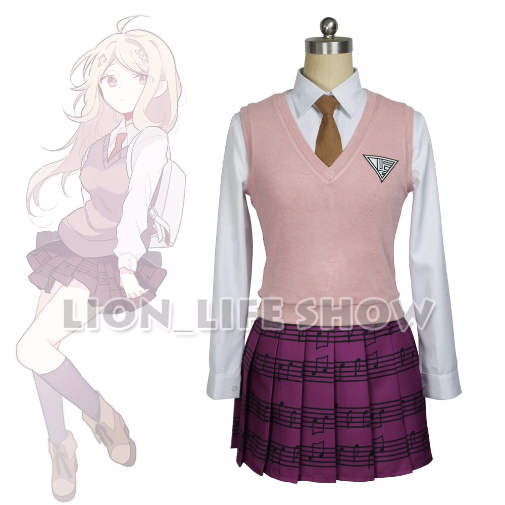 Danganronpa V3 Killing Harmony Kaede Akamatsu Piano Musical Notation Printing Embroidery High School Uniform Set Cosplay Costume