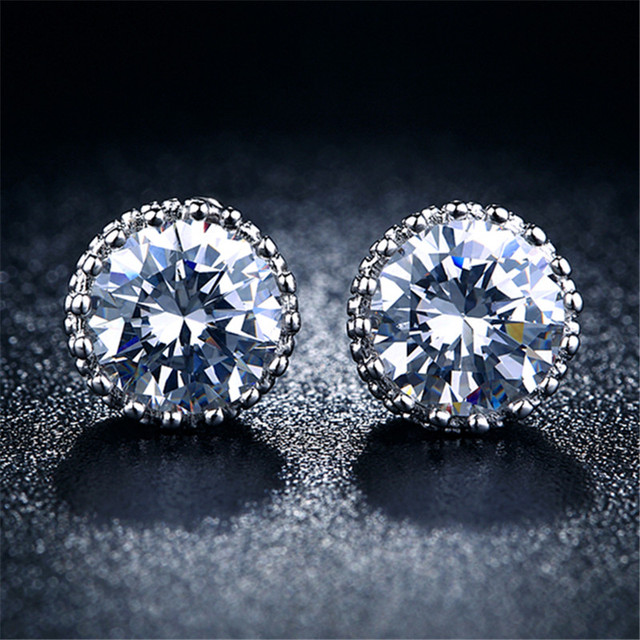 New Fashion White Gold Plated Earrings for Women Cubic Zircon Wedding Jewelry Clear Crystal Channel Stud Earrings  R001