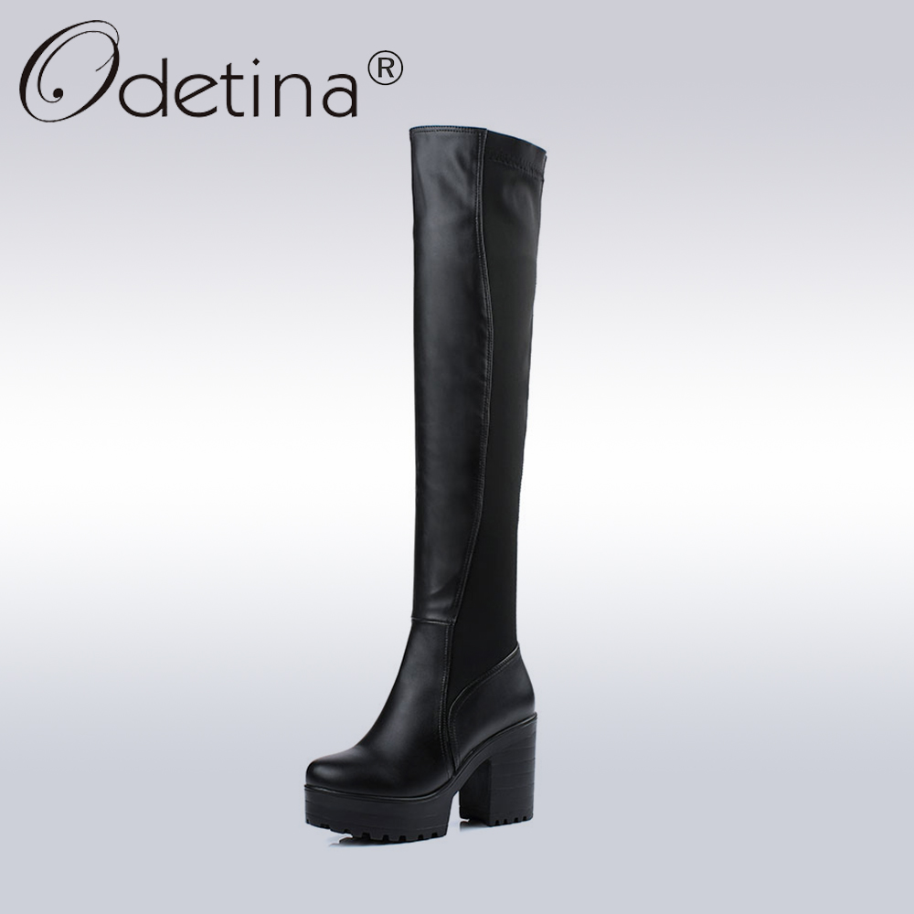 Odetina 2018 New Fashion Women Over The Knee Boots Platform Thick Heels Shoes Lady High Heel Slip On Long Boots Plus Size 33-43 nasipal 2017 new women pu sexy fashion over the knee boots sexy thin high heel boots platform woman shoes big size 34 43 g804