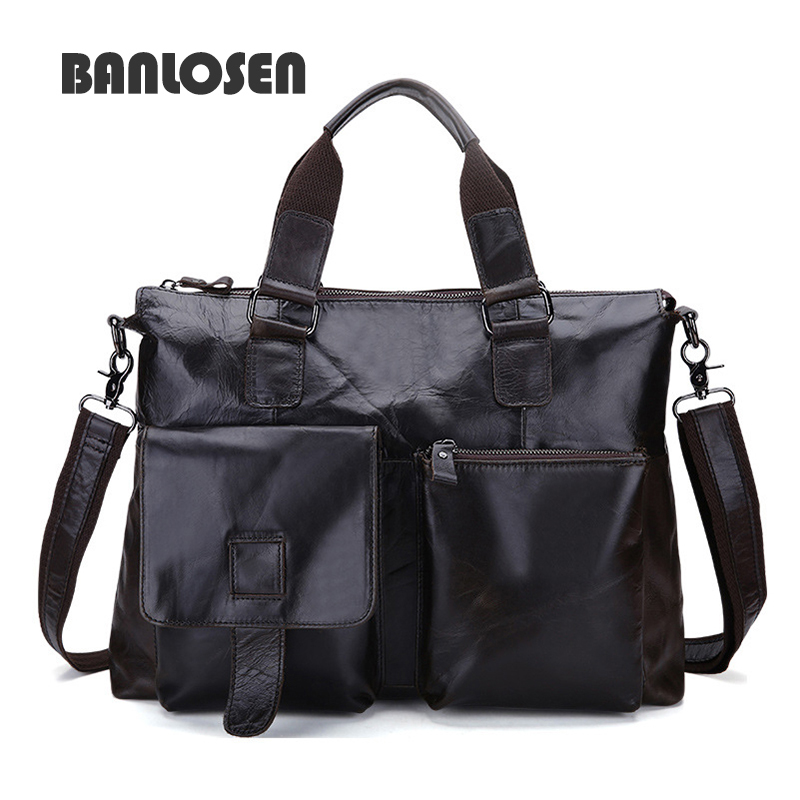 все цены на New Men Business Handbags Messenger Bags Genuine Leather Bag Men Briefcase Fashion High Quality Brand Design Shoulder Bag YS1444 онлайн