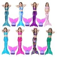 Hot Sales Kids Bikini Shining Swimsuit Girls Mermaid Tail Monofin Swimmable Children Cosplay Costume Beachwear Photo Booth Props