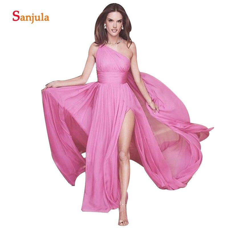 One Shoulder Bridesmaid Dresses Pink Chiffon Long Wedding Party Dress With Side Slit Vestido De Madrinha de casamento longo BY24