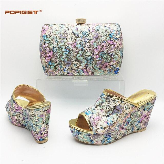 Fashion nice design Bling shining wedding African shoe and bag set  comfortable wedges Italian shoes matching bag 2dbe8b23f057