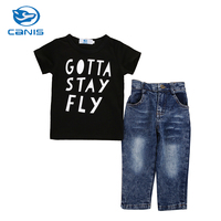 CANIS Brand Clothes Set Cotton 2-7T Little Kid Baby Clothes Boy Casual Short Sleeves T-shirt Top Jeans Pants Outfit Set